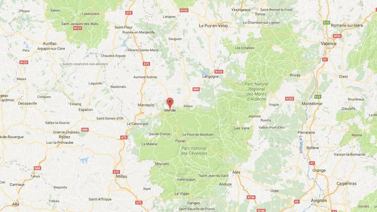 Unefemme qui avait fait croire à son enlèvement en juillet pour rejoindre son amant est jugée le jeudi 9 novembre devant le tribunal correctionnel de Mende (Lozère). (FRANCEINFO / GOOGLE MAPS)