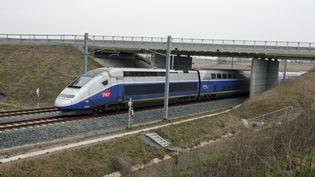 Un TGV fait un trajet test sur la ligne à grande vitesse Est, à Eckwersheim (Bas-Rhin), le 1er mars 2016. (MAXPPP)