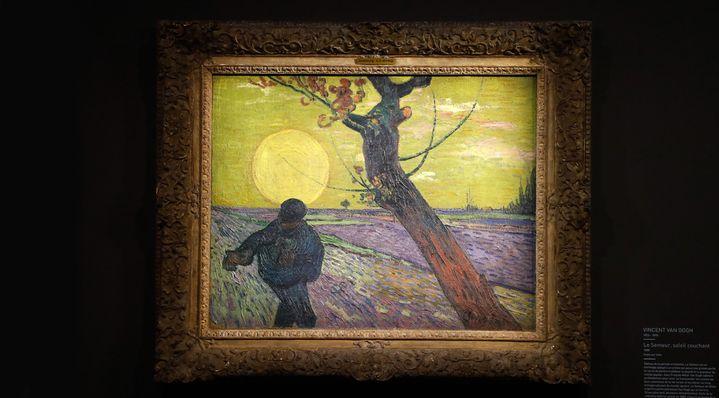 """Dans la collection Emil Bührle, on trouve le tableau de Van Gogh """"Le semeur, soleil couchant"""" (1888) au Musée Maillol (18 mars 2019)  (François Guillot / AFP)"""