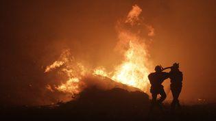 Des pompiers luttent contre les flammes, près de Pietracorbara (Haute-Corse), le 11 août 2017. (PASCAL POCHARD-CASABIANCA / AFP)