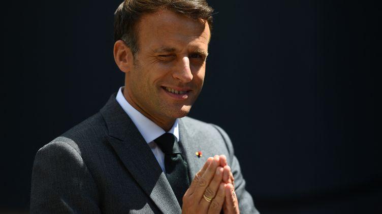 Le président de la République Emmanuel Macron lors de l'inauguration de La Samaritaine, à Paris le 21 juin 2021 (CHRISTOPHE ARCHAMBAULT / AFP)