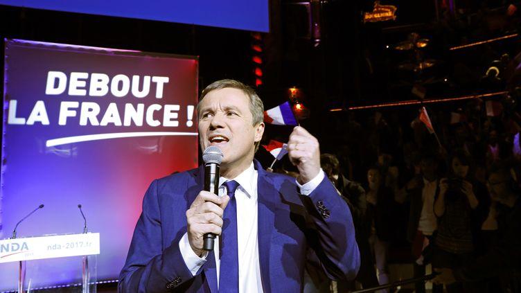 Nicolas Dupont-Aignan, le 19 avril 2017 à Paris. (THOMAS SAMSON / AFP)