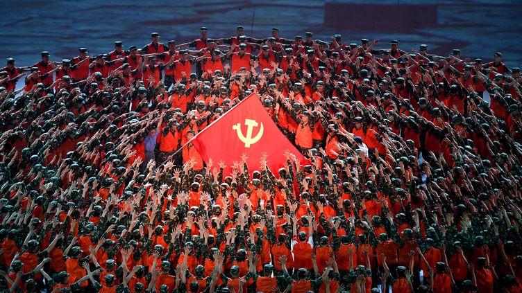Les célébrations des 100 ans de la fondation du Parti communiste chinois à Pékin, le 28 juin 2021. (NOEL CELIS / AFP)