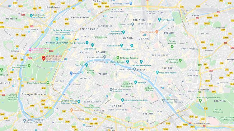 Le véhicule a foncé sur la victime vers 2h20 du matin, dans le Bois de Boulogne (Paris) (GOOGLE MAPS)