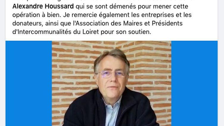 Serge Grouard annonce la commande de 100 000 masques sur son compte Facebook le 3 mai 2020. (CAPTURE ECRAN FACEBOOK)