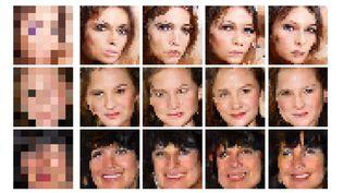 Google Brain parvient à reconstituer des visages à partir d'une bouillie de pixels (Google)