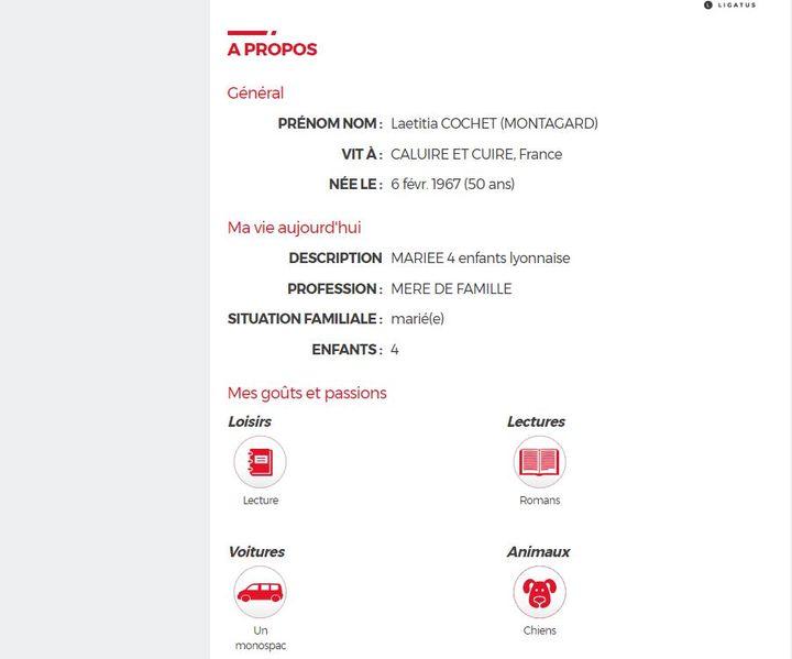 Capture d'écran du profil public de Laëtitia Cochet sur Copains d'avant. (COPAINS D'AVANT)