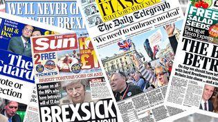 Les unes de la presse britannique, le 30 mars 2019. (RADIO FRANCE / FRANCEINFO)