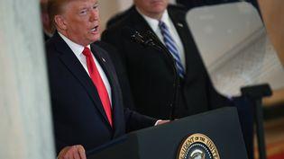 Le président américain Donald Trump s'exprime après les frappes iraniennes qui ont visé des bases américaines en Irak, le 8 janvier 2020. (ERIC BARADAT / AFP)