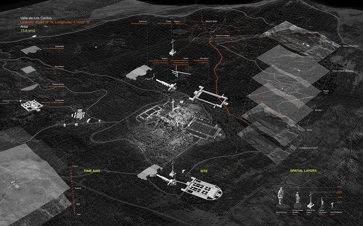 """Représentation virtuelle du """"Vallee de losCaídos"""" (Site du projet """"Deep Space"""")"""