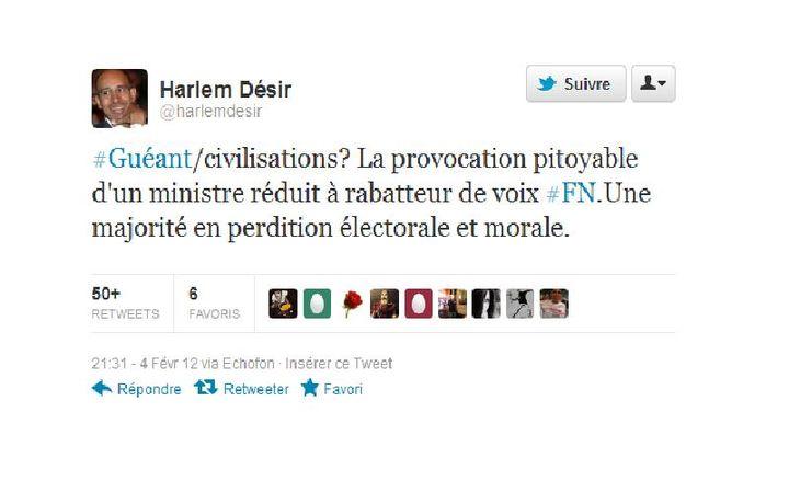 Capture d'écran du tweet d'Harlem Désir (DR)