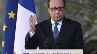 François Hollande face à la communauté française, à Abou Dhabi, le 3 décembre 2016. (STEPHANE DE SAKUTIN / AFP)