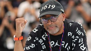 Le réalisateur américain Spike Lee, président du jury, au 74e Festival de Cannes (6 juillet 2021) (VALERY HACHE / AFP)