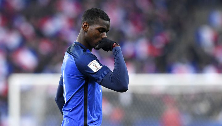 Paul Pogba, le 11 novembre 2016, au Stade de France à Saint-Denis (Seine-Saint-Denis), lors du match de qualification pour le Mondial 2018 France-Suède. (FRANCK FIFE / AFP)