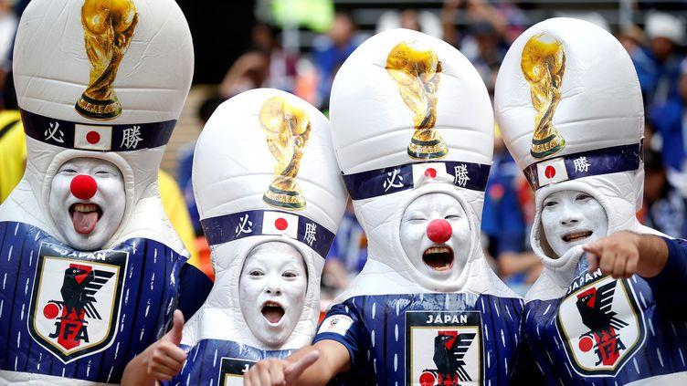 Les Japonais ont de quoi se réjouir. Ils ont effectué un bon début de mondial, en s'imposant contre la Colombie (2-1), le 19 juin 2018 à Saransk. (FATIH AKTAS / ANADOLU AGENCY)