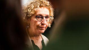 La ministre du Travail Muriel Pénicaud en visite dans un Centre de formation des apprentis à Perpignan (Pyrénées-Orientales), le 17 janvier 2020. (JC MILHET / HANS LUCAS)