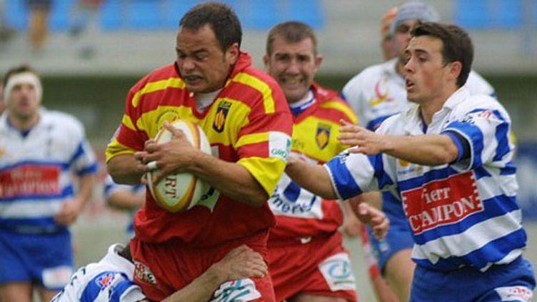 Sylvain Deroeux (à gauche) quand il jouait encore comme 3e ligne pour Perpignan