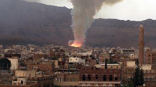 Bombardements sur Sanaa, au Yémen  (Mohammed Huwais/AFP)