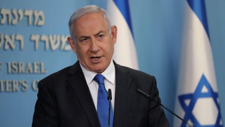 Le Premier ministre israélien, Benyamin Nétanyahou, s'adresse aux Israéliens depuis Jérusalem le 13 août 2020. (POOL NEW / REUTERS)