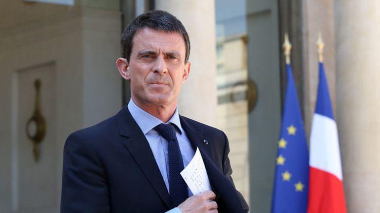 (Manuel Valls, après le Conseil des ministres du 22 avril dernier. © Maxppp)