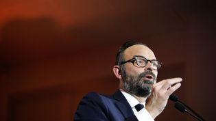 Le Premier ministre, Edouard Philippe, lors d'un meeting pour lancer sa campagne pour les municipales, le 31 janvier 2020, au Havre (Seine-Maritime). (LOU BENOIST / AFP)