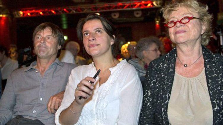 Nicolas Hulot (g), Cécile Duflot (c) et Eva Joly participent aux Etats généraux du nucléaire, le 21 mai 2011 à Paris. (AFP - Bertrand Langlois)