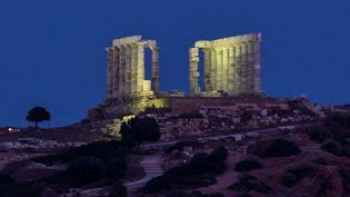 Le temple de Poséidon au Cap Sounion, à 70 km au sud d'Athènes, le 26 mai 2021 (LOUISA GOULIAMAKI / AFP)