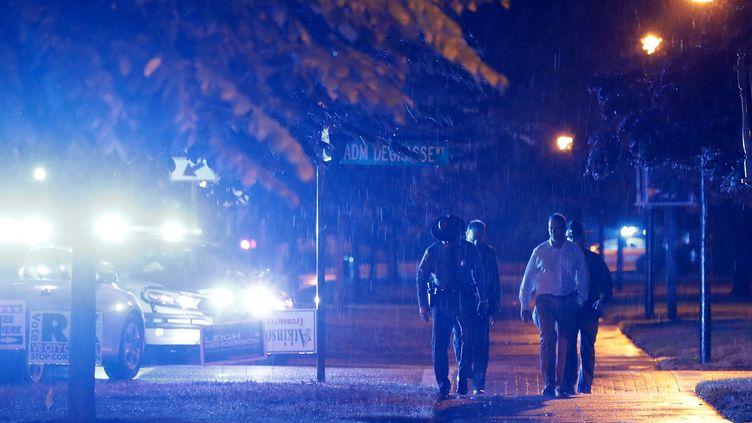 Des voitures des forces de l'ordreà Virginia Beach où une fusillade a fait 12 morts vendredi 31 mai. (CHIP SOMODEVILLA / GETTY IMAGES NORTH AMERICA)