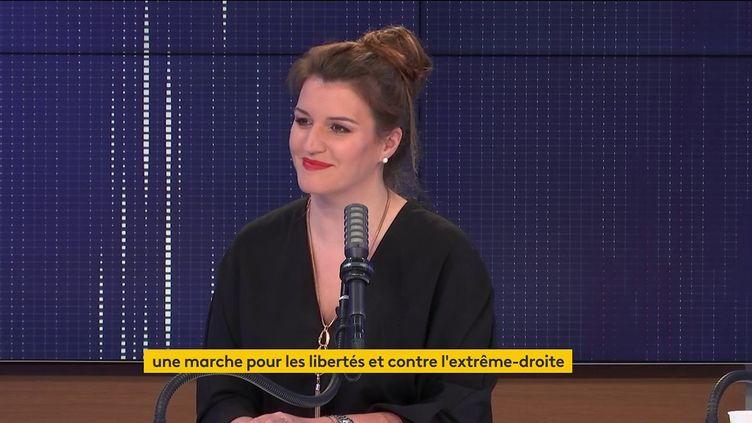 """Marlène Schiappa, laMinistre chargée de la Citoyenneté, candidate aux élections régionales enÎle-de-France était l'invité du """"8h30franceinfo"""",mercredi 26mai 2021 (FRANCEINFO / RADIOFRANCE)"""