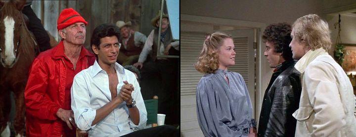 """À gauche : Jeff Goldblum, et derrière lui,Layne """"Shotgun"""" Britton, célèbre maquilleur de Hollywood et acteur, dans l'épisode """"Murder on Stage 17"""" (""""Le Clown"""" - saison 2 - 1977). À droite : Melanie Griffith et nos détectives dans l'épisode """"The Action"""" (""""La folie du jeu"""" - saison 3 - 1978)  (Captures écran """"Starsky et Hutch"""" / Sony Pictures Television)"""