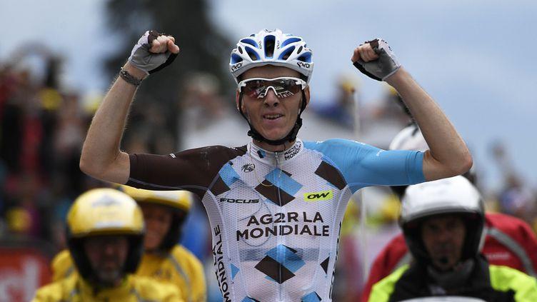 Le Français Romain Bardet, vainqueur de la 19e étape du Tour de France 2016, à Saint-Gervais Mont Blanc (Haute-Savoie), le 22 juillet 2016. (LIONEL BONAVENTURE / AFP)