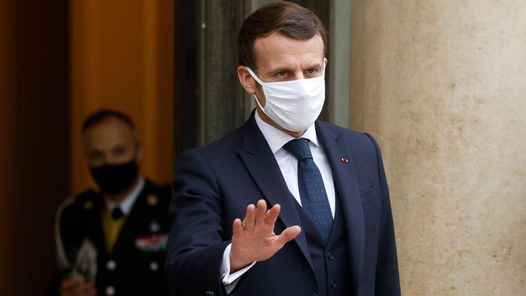 Le Président français Emmanuel Macron àl'Elysée, le 27 janvier 2021 à Paris. (LUDOVIC MARIN / AFP)