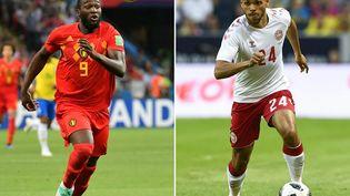 L'attaquant belge Romelu Lukaku et l'attaquant danois Martin Braithwaite. (EMMANUEL DUNAND / AFP)