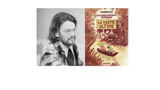 """Le dessinateur Nikita Mandryka en 1971 ( à gauche) et l'une de ses bandes dessinées, """"Le concombre masqué : la vérité ultime"""" ( 2012). (AFP / FRANCEINFO)"""