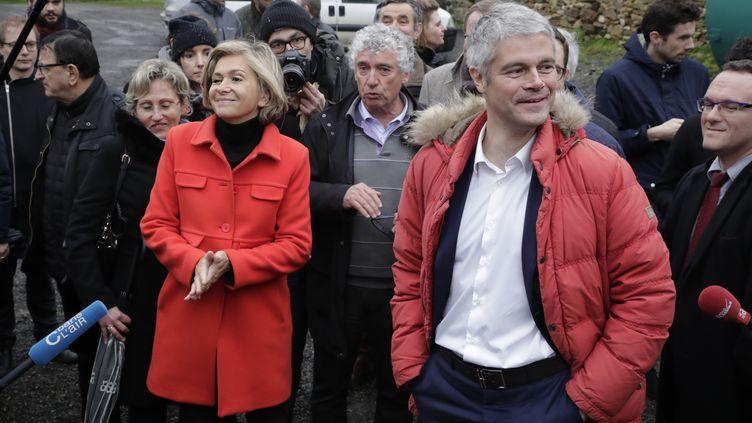 La présidente de la région Ile-de-France, Valérie Pécresse, et le président du parti Les Républicains, Laurent Wauquiez, le 31 janvier 2018 à sagy (Val d'Oise). (THOMAS SAMSON / AFP)