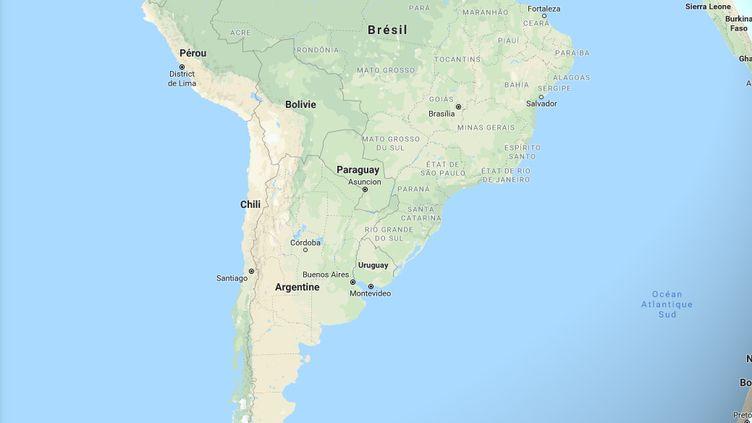 L'Argentine, le Chili, le Paraguay et l'Uruguay vont se regrouper dans une candidature commune pour organiser la Coupe du monde 2030. (GOOGLE MAPS / FRANCEINO)