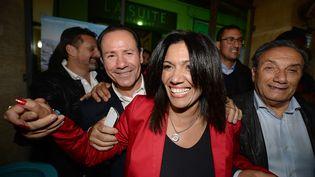 La sénatrice Samia Ghali, au soir du premier tour de la primaire PS à Marseille, dimanche 13 octobre 2013, au terme duquel elle est arrivée en tête. (BORIS HORVAT / AFP)
