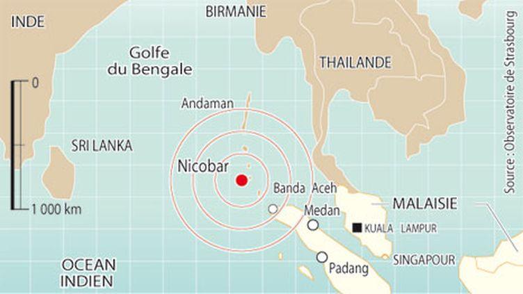 L'onde de choc du séisme au large des îles indiennes Nicobar (Indonésie) (AFP)