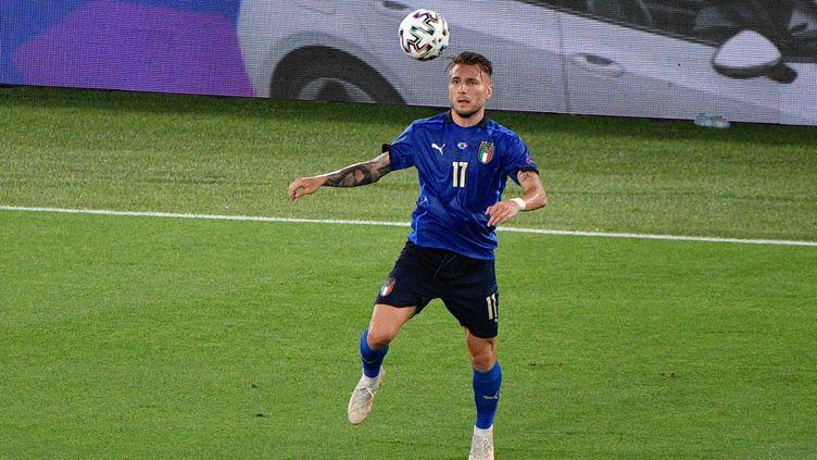 Ciro Immobile contre la Suisse, le 16 juin 2021. (FABRIZIO CORRADETTI / LIVEMEDIA / AFP)
