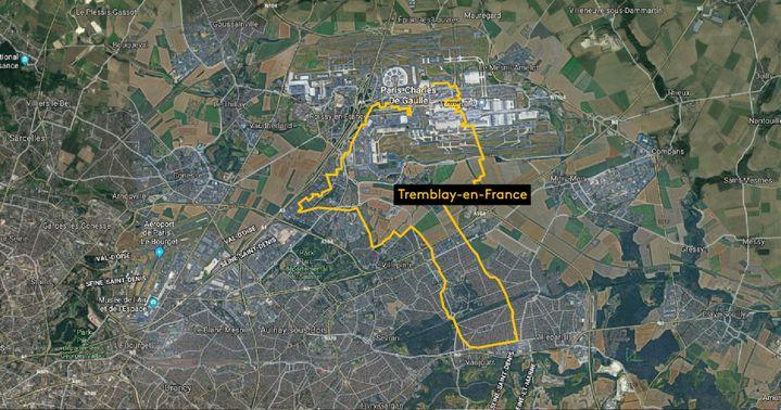 La ville de Tremblay-en-France, située en Seine-Saint-Denis. (NOEMIE CARON / FRANCEINFO / GOOGLE MAPS)