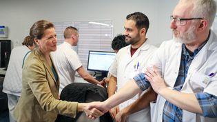 La ministre de la Santé, Agnès Buzyn, en visite à l'hôpital de Lens (Pas-de-Calais), le 7 février 2020. (THIERRY THOREL / NURPHOTO)