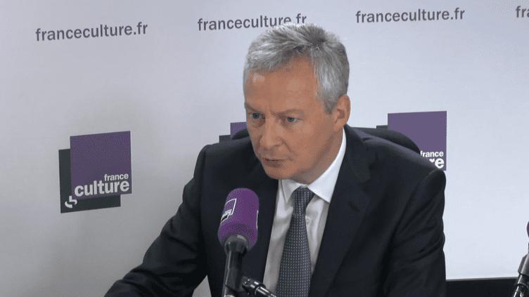 Bruno Le Maire, ministre de l'Économie, invité de la matinale de France Culture, le 9 mai 2018. (CAPTURE ECRAN / FRANCEINFO / RADIO FRANCE)