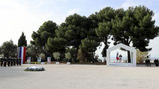 L'hommage national aux victimes de l'attentat de la basilique Notre-Dame de Nice (Alpes-Maritimes), le 7 novembre 2020. (VALERY HACHE / POOL / AFP)