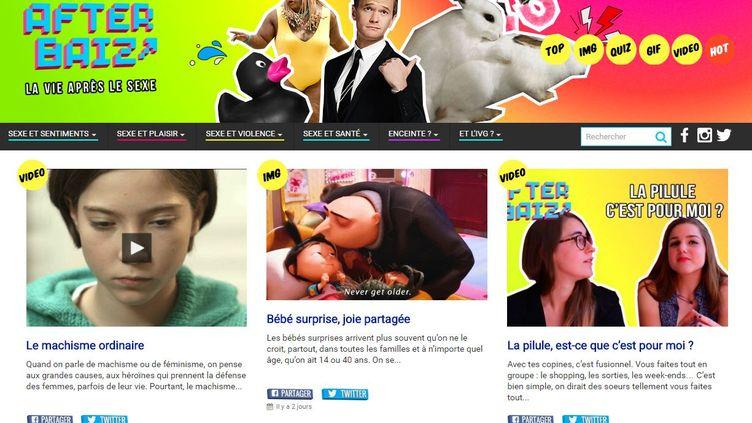 """Le site Afterbaiz.com, destiné aux jeunes lycéens, s'annonce commeun """"magazine pour une sexualité intelligente"""", mais milite également contre l'avortement. (AFTERBAIZ.COM / FRANCETV INFO)"""