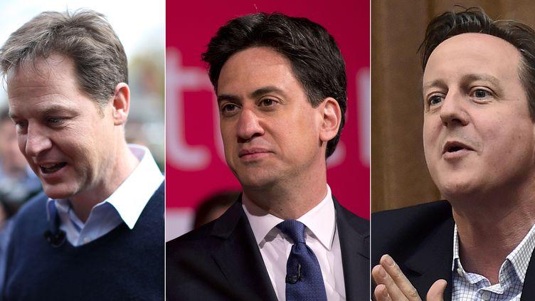De gauche à droite, Nick Clegg (parti libéral-démocrate) etEd Miliband (parti travailliste),à l'occasion des élections législatives britanniques. ( AFP )