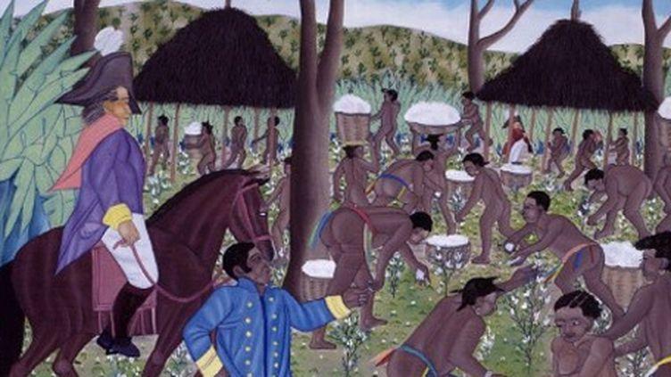 Esclaves récoltant le coton à Cap-Haïtien à l'époque coloniale. Peinture du peintre haïtien J. Bélizaire (1982) (AFP - The Picture Desk - The Art Archive - Gianni Dagli Orti)