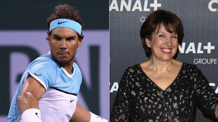 Rafael Nadal lors d'un tournoi à Indian Wells (Etats-Unis), le 13 mars 2016, et Roselyne Bachelot lors d'un gala, à Paris, le 3 février 2016. (AFP / FRANCETV INFO)
