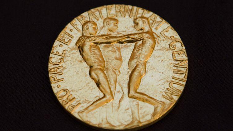 La médaille remise aux lauréats du prix Nobel de la paix, photographiée le 8 décembre 2010 à Oslo (Norvège). (REUTERS)