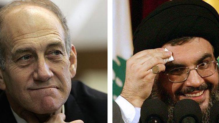 Le Premier ministre israélien, Ehud Olmert et Hassan Nasrallah, le chef de la milice libanaise du Hezbollah. (AFP / Menahem Kahana Haitham Mussawi)