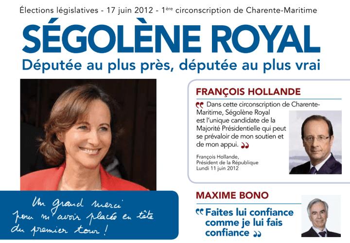 Capture d'écran de la profession de foi de Ségolène Royal pour le second tour des législatives dans la 1re circonscription de Charente-Maritimes. (CAPTURE D'ÉCRAN / FTVI)